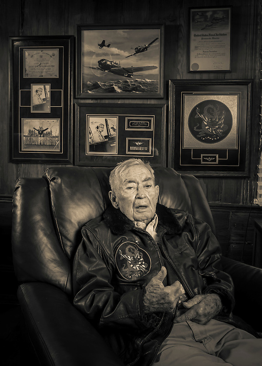 """Cdr. Leroy Robinson flew in WWII and Korea as a naval aviator.  A confirmed """"Ace,"""" he was later a Delta Airlines Captain for 32 years.   <br /> <br /> Created by aviation photographer John Slemp of Aerographs Aviation Photography. Clients include Goodyear Aviation Tires, Phillips 66 Aviation Fuels, Smithsonian Air & Space magazine, and The Lindbergh Foundation.  Specialising in high end commercial aviation photography and the supply of aviation stock photography for advertising, corporate, and editorial use."""
