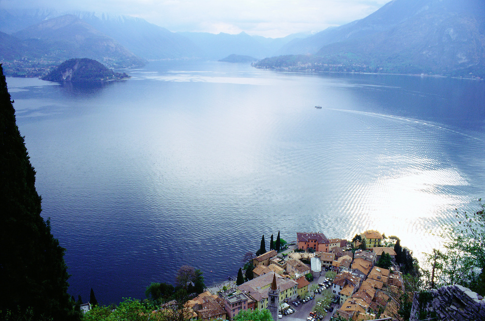 View looking down from Castle Vezio on Varenna, Italy and lake Como with Bellagio, Italy across the lake.