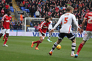 Nottingham Forest's Djamel Abdoun (c) makes a break.  Skybet championship match, Bolton Wanderers v Nottingham Forest at the Reebok Stadium in Bolton, England on Saturday 11th Jan 2014.<br /> pic by David Richards, Andrew Orchard sports photography.