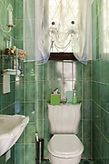 Architecture, interior of a restroom, green tiled walls