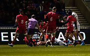 Sale Sharks wing Denny Solomona dives over to score his sides first try during a Premiership Rugby Cup Semi Final  won by Sale 28-7, Friday, Feb. 7, 2020, in Eccles, United Kingdom. (Steve Flynn/Image of Sport)