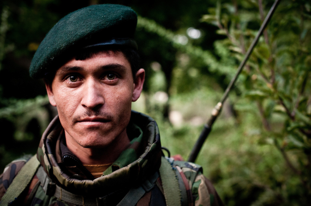 Wardak, Afghanistan: An Afghan National Army radio operator in the Jalrez Valley of Wardak Province.