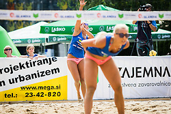 Monika Potokar of Sberbank and Erika Fabjan of Sberbank during Qlandia Beach Challenge 2015 and Beach Volleyball Slovenian National Championship 2015, on July 25, 2015 in Kranj, Slovenia. Photo by Ziga Zupan / Sportida