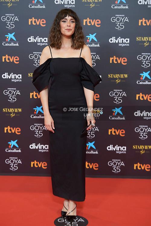 Belen Cuesta attends 35th Goya Cinema Awards 2021 - Red Carpet at Gran Hotel Miramar on March 6, 2021 in Malaga, Spain