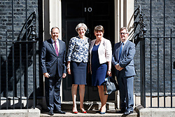 © Licensed to London News Pictures. 26/06/2017. London, UK. The DUP deputy leader NIGEL DODDS, the DUP leader ARLENE FOSTER and DUP MP JEFFREY DONALDSON meet Prime Minister THERESA MAY in Downing Street as they hope to finalise their deal to form a propped up minority government on Monday, 26 June 2017. Photo credit: Tolga Akmen/LNP