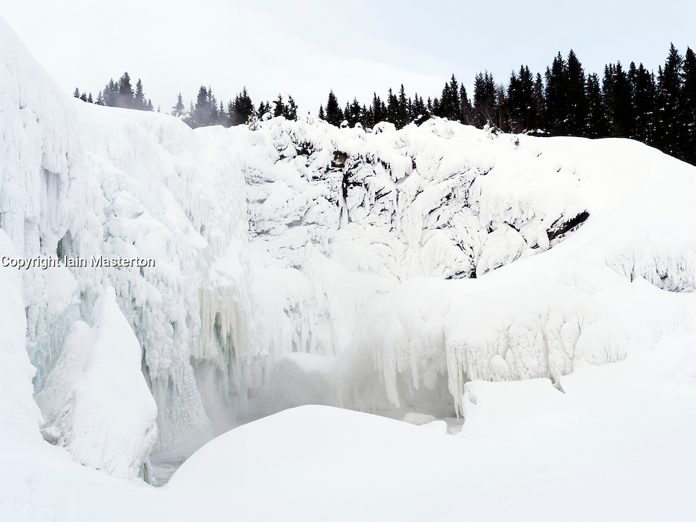 The Tännforsen waterfall frozen in winter in Jamtland district of Sweden