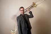 Promotional Endorsement Photo for Shilke Trombone artist Oscar Utterstrom. Playing with motion.