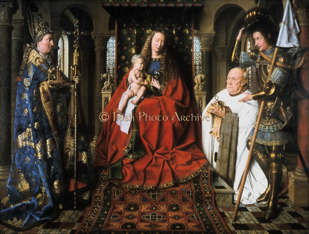 Virgin and Child with Canon van der Paele', 1436. Oil on panel. Jan van Eyck (c1395-1441) Flemish Northern Renaissnce painter.   The donor and the Virgin are flanked by Saint George and Saint Donation. Spectacles Glasses Carpet