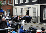 © under license to London News Pictures. 11/05/10. Staff from number 10 and 11 Downing Street assemble along with the media to wait for Gordon Brown to emerge. British Prime Minister Gordon Brown has resigned his position and David Cameron has become the new British Prime Minister on May 11, 2010. The Conservative and Liberal Democrats are to form a coalition government after five days of negotiation. Photo credit should read Stephen Simpson/LNP