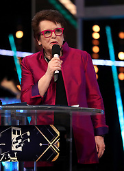 Billie Jean King receives her Life Time Achievement Award during the BBC Sports Personality of the Year 2018 at Birmingham Genting Arena.