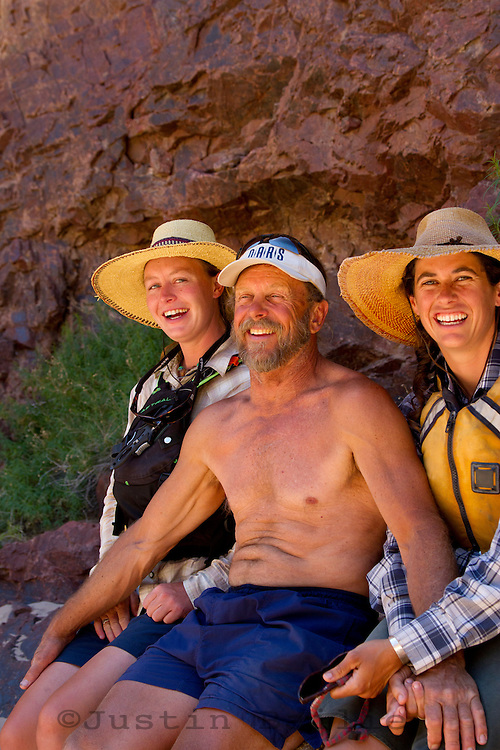Portrait of river guides messing around on a Grand Canyon rafting trip. Grand Canyon National Park, AZ.