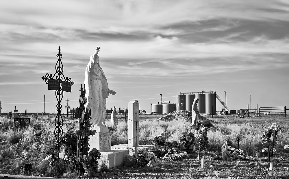 Lara Cemetery in the Permian Basin on the outskirts of Pecos, Texas.