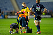 Referee Nigel Owens (WRU) waits for an Edinburgh player to receive treatment during the Guinness Pro 14 2018_19 match between Edinburgh Rugby and Ulster Rugby at the BT Murrayfield Stadium, Edinburgh, Scotland on 12 April 2019.