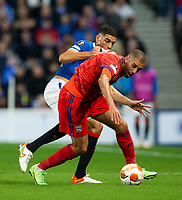 Football - 2021 / 2022  UEFA Europa League - Group A, Round One - Glasgow Rangers vs Lyon - Ibrox stadium - Thursday 16th September 2021<br /> <br /> Islam Slimani of Olympique Lyonnais vies with Leon Balogun of Rangers<br /> <br /> Credit: COLORSPORT/Bruce White