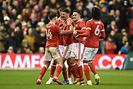 The Reds celebrate after Nottingham Forest defender Eric Lichaj (2) scores a goal to make it 1-0 during the The FA Cup 3rd round match between Nottingham Forest and Arsenal at the City Ground, Nottingham, England on 7 January 2018. Photo by Jon Hobley.