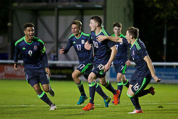 BANGOR, WALES - Saturday, November 12, 2016: Wales' Nathan Broadhead celebrates scoring the first goal against England from the penalty spot during the UEFA European Under-19 Championship Qualifying Round Group 6 match at the Nantporth Stadium. (Pic by Gavin Trafford/Propaganda)