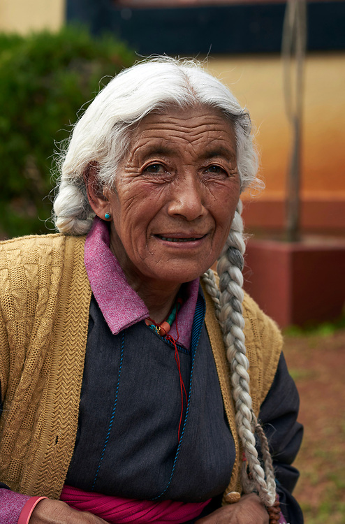 Portrait of an elderly Tibetan refugee lady living at Bylakuppe, Karnataka