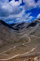 Khardungla Pass. At 18,379 feet, the pass is the highest motorable road in the world. Ladakh, Jammu and Kashmir State, India.