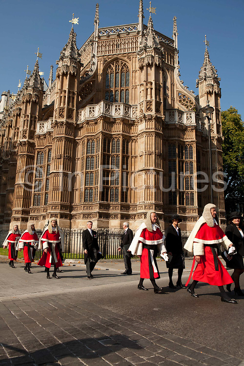 Lord Chancellor's Breakfast. Members of the Judiciary in procession from their traditional service at Westminster Abbey to the Houses of Parliament to mark the beginning of the Legal New Year. London, UK.