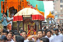 September 15, 2016 - Kathmandu, Nepal - Devotees carrying God 'Ganesh' for the chariot pulling festival on the third day of Indra Jatra Festival celebrated at Basantapur Durbar Square, Kathmandu. Devotees celebrated the god of rain 'Indra' for 8 days in Kathmandu. (Credit Image: © Narayan Maharjan/Pacific Press via ZUMA Wire)