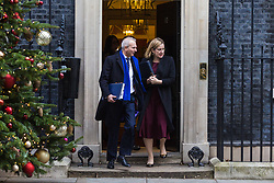 London, December 19 2017. Justice Secretary David Lidington and Home Secretary Amber Rudd leave 10 Downing Street following the last cabinet meeting before the Christmas break. © Paul Davey