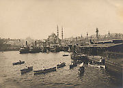 Panoramic view of The golden horn river and the Galata Bridge Istanbul turkey.