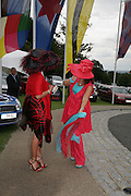 Deborah Philbrick and Sandra Rees, Glorious Goodwood. 2 August 2007.  -DO NOT ARCHIVE-© Copyright Photograph by Dafydd Jones. 248 Clapham Rd. London SW9 0PZ. Tel 0207 820 0771. www.dafjones.com.