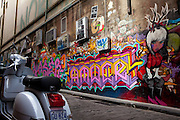 Graffiti and moped on Hosier Lane, Melbourne