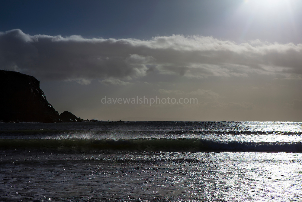 Waves breaking on Silver Strand, Or Trabane Beach, near Malin Beg, Donegal, on Ireland's Wild Atlantic Way.