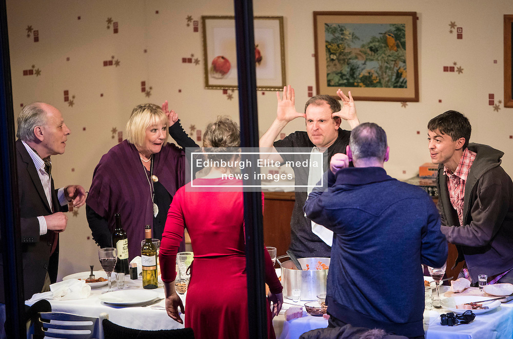 Interiors is a nearly wordless piece of visual theatre that places the audience as voyeurs, watching a dinner unfold without hearing any of the characters' voices. Performed as part of the Edinburgh International Festival.