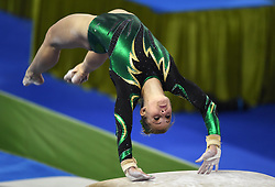 NANNING, Oct. 6, 2014  Claudia Cummins of South Africa performs on the vault during the women's qualifying round of the 45th Gymnastics World Championships in Nanning, capital of south China's Guangxi Zhuang Autonomous Region, Oct. 6, 2014. The 45th FIG Artistic Gymnastics World Championships lasts from Oct. 3 to 12 in Nanning. (Credit Image: © Xinhua via ZUMA Wire)