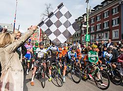 16.04.2013, Hauptplatz, Lienz, AUT, Giro del Trentino, Etappe 1, Lienz nach Lienz, im Bild Astrid Pirka, Elisabeth Blanik (BGM Lienz) mit Startfalgge, Faeture, Startaufstellung, Uebersicht // during stage 1, Lienz to Lienz of the Giro del Trentino at the Hauptplatz, Lienz, Austria on 2013/04/16. EXPA Pictures © 2013, PhotoCredit: EXPA/ Johann Groder