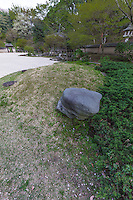 Turtle Garden at Mitsuike Garden has a Korean style pavilion - the garden's style was based on the gardens of provincial royalty in Korea during the Joseon dynasty.  Under the supervision of Min Kyung-hyun the architecture was planned by the Institute of Seoul Architecture and Culture. The garden is made up of five areas: front garden, front courtyard, main garden, back courtyard and the back garden representing  the relationship with nature based on Feng Sui.  Using an original garden techniques.  For most visitors, the greatest draw to Misuiike Park is the fact that it is listed as top 100 sakura cherry blossom viewing spots in Japan with 78 varieties of sakura, and altogether1600 trees.