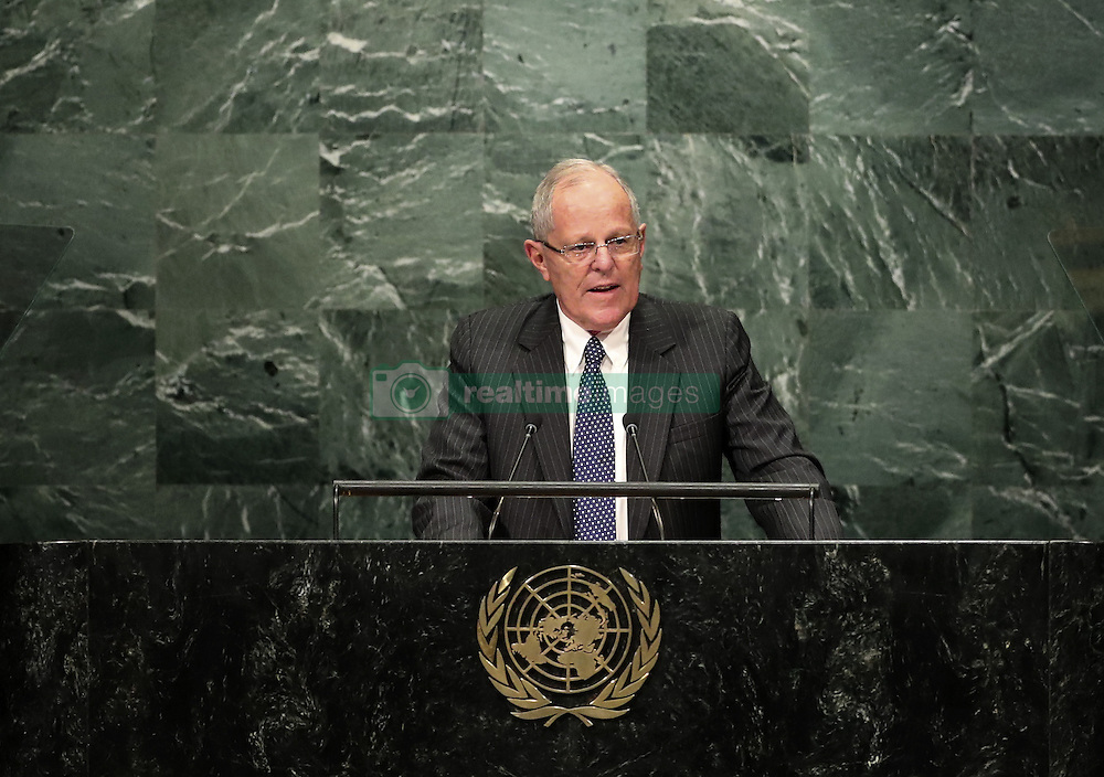 UNITED NATIONS, Sept. 20, 2016 (Xinhua) -- Peruvian President Pedro Pablo Kuczynski speaks at the 71st session of the United Nations General Assembly at the UN headquarters in New York, on Sept. 20, 2016. The 71st session of the UN General Assembly on Tuesday opened its annual high-level General Debate at the UN headquarters in New York, with a focus on pushing for the world's sustainable development. (Xinhua/Wang Ying) (Credit Image: © Wang Ying/Xinhua via ZUMA Wire)