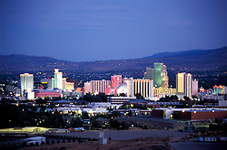 Nevada: Reno. Skyline at night..Photo copyright Lee Foster, www.fostertravel.com..Photo #: nvreno101, 510/549-2202, lee@fostertravel.com