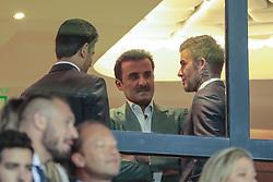 September 18, 2019, Paris, Ile de France, France: Nasser Al-Khelaifi (PSG), Tamim ben Hamad Al Thani (PSG), David Beckham (Credit Image: © Panoramic via ZUMA Press)