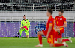 HELSINKI, FINLAND - Thursday, September 3, 2020: Wales' goalkeeper Wayne Hennessey kneels down (takes a knee) in support of the Black Lives Matter movement before the UEFA Nations League Group Stage League B Group 4 match between Finland and Wales at the Helsingin Olympiastadion. (Pic by Jussi Eskola/Propaganda)
