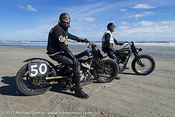Nicholoas Toscano on his Harley-Davidson UL (in a 36 VL frame) with Andrew Wood on his 1929Harley-Davidson / JD Racer at the Race of Gentlemen. Wildwood, NJ, USA. October 10, 2015.  Photography ©2015 Michael Lichter.