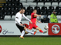 Pictured: Marko Arnautovic of Austria (L) has his shot blocked by Samuel Ricketts of Wales. Wednesday 06 February 2013..Re: Vauxhall International Friendly, Wales v Austria at the Liberty Stadium, Swansea, south Wales.