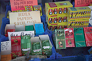 Cigarette papers on market stall