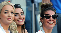 Megan Davison, girlfriend of England goalkeeper Jordan Pickford (left) Annie Kilner, girlfriend of England's Kyle Walker (centre) and Rebekah Vardy, wife of England's Jamie Vardy during the FIFA World Cup Group G match at Kaliningrad Stadium.