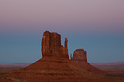 The Mittens after sunset, Monument Valley, Arizona