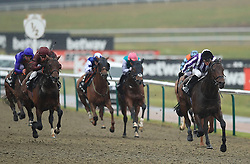 Victory Bond (right) ridden by James Doyle wins the Betway Easter Classic All-Weather Middle Distance Championships Conditions Stakes during the AW Championship Finals Day at Lingfield Racecourse.