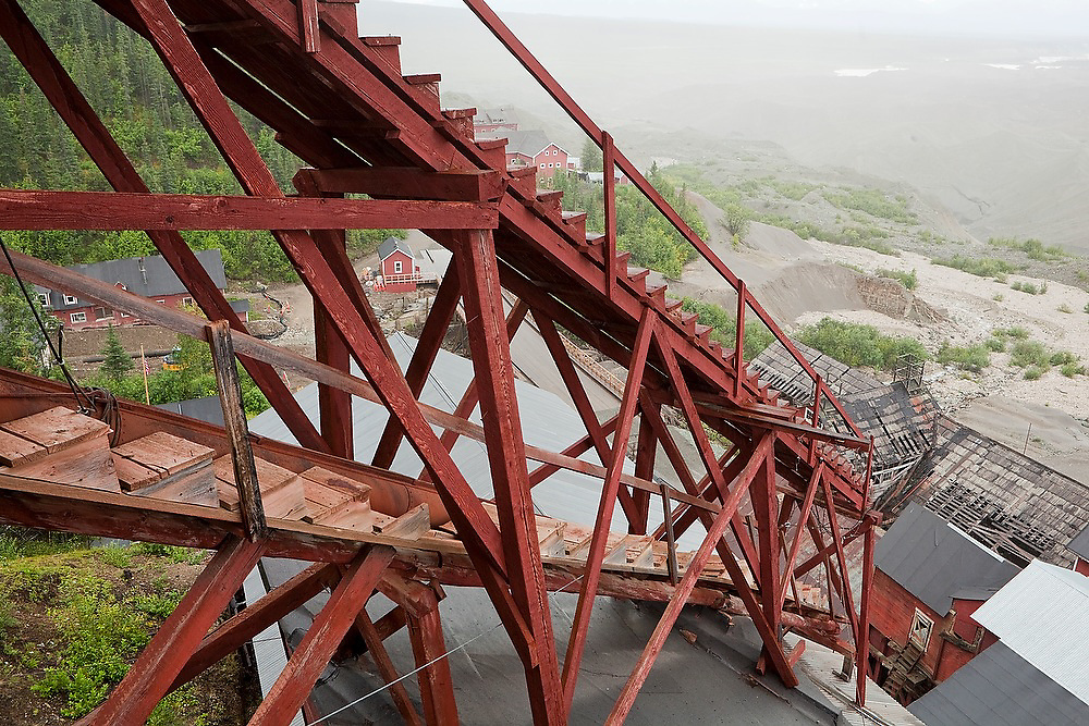 View from the top of the mill building looking down onto Kennecott in Wrangell St. Elias National Park, Alaska.