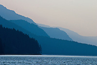 Mountain shadows over Buttle Lake Vancouver Island BC