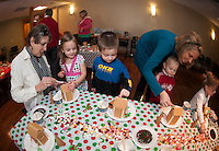 Gingerbread house decorating at the Gilford Public Library.