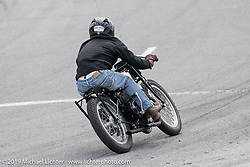 Chris Boyd riding a 45 inch Flat Head Harley-Davidson in the Sons of Speed Vintage Motorcycle Races at New Smyrina Speedway. New Smyrna Beach, USA. Saturday, March 9, 2019. Photography ©2019 Michael Lichter.