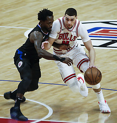 March 15, 2019 - Los Angeles, California, U.S - Chicago Bulls' Zach LaVine (8) drives against Los Angeles ClippersÃ• Patrick Beverley (21) during an NBA basketball game between Los Angeles Clippers and Chicago Bulls Friday, March 15, 2019, in Los Angeles. The Clippers won 128-121. (Credit Image: © Ringo Chiu/ZUMA Wire)