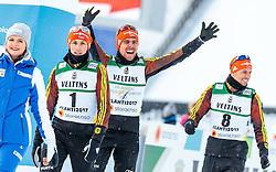 24.02.2017, Lahti, FIN, FIS Weltmeisterschaften Ski Nordisch, Lahti 2017, Nordische Kombination, Flower Zeremonie, im Bild Silbermedaillen Gewinner Eric Frenzel (GER), Goldmedaillen Gewinner Johannes Rydzek (GER), Bronzemedaillen Gewinner Bjoern Kircheisen (GER) // Silver Medalist Eric Frenzel of Germany Gold Medalist Johannes Rydzek of Germany Bronze Medalist Bjoern Kircheisen of Germany during Flower Ceremony of the Nordic Combined Competition of FIS Nordic Ski World Championships 2017. Lahti, Finland on 2017/02/24. EXPA Pictures © 2017, PhotoCredit: EXPA/ JFK