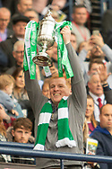 Interim Celtic Manager Neil Lennon lifts the William Hill Scottish Cup following their victory in the William Hill Scottish Cup Final match between Heart of Midlothian and Celtic at Hampden Park, Glasgow, United Kingdom on 25 May 2019.